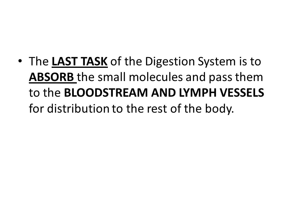 The LAST TASK of the Digestion System is to ABSORB the small molecules and pass them to the BLOODSTREAM AND LYMPH VESSELS for distribution to the rest of the body.