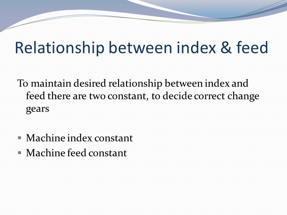 Relationship between index & feed