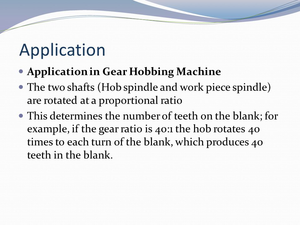 Application Application in Gear Hobbing Machine