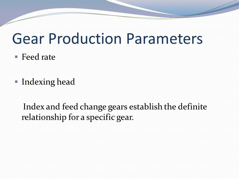 Gear Production Parameters