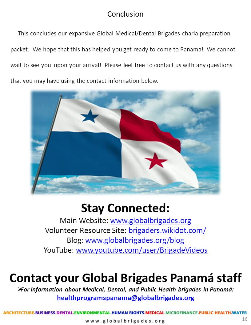 Contact your Global Brigades Panamá staff