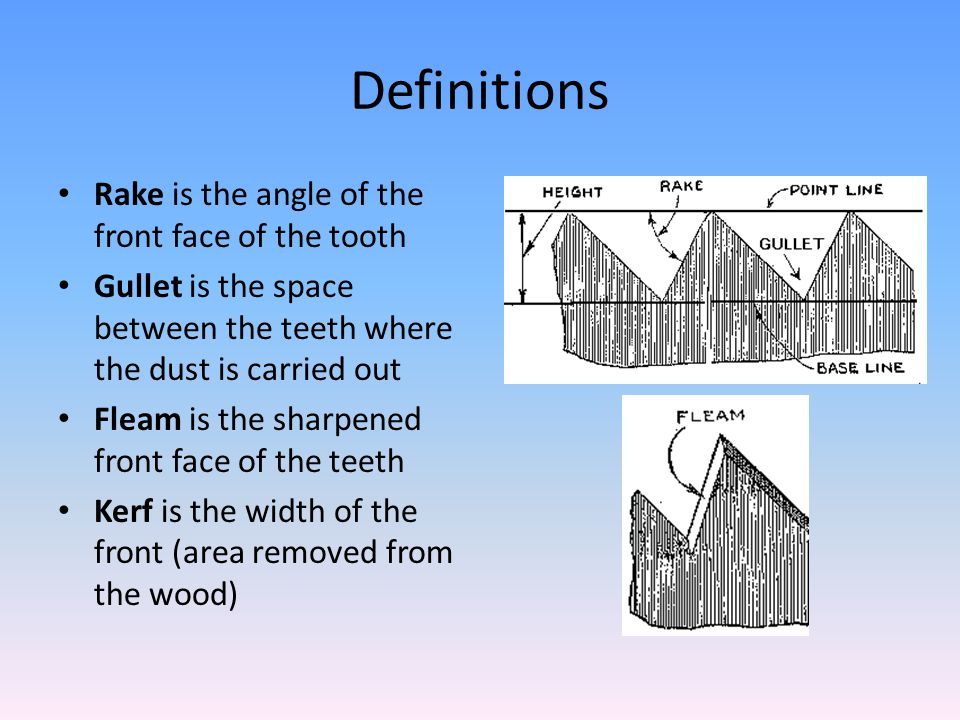Definitions Rake is the angle of the front face of the tooth