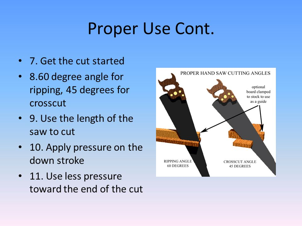 Proper Use Cont. 7. Get the cut started