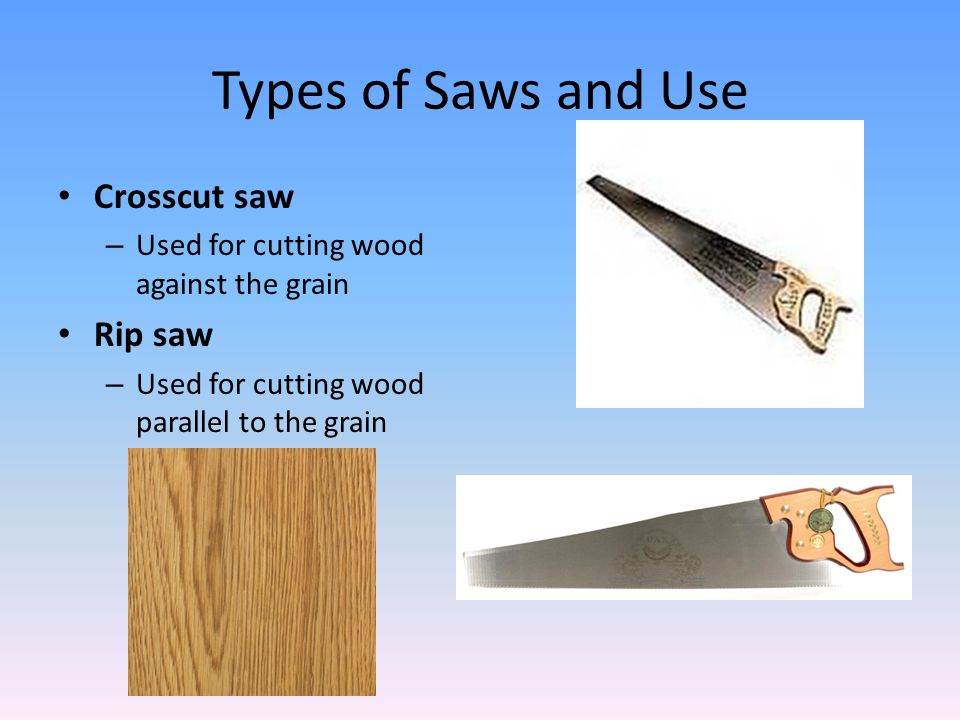Types of Saws and Use Crosscut saw Rip saw
