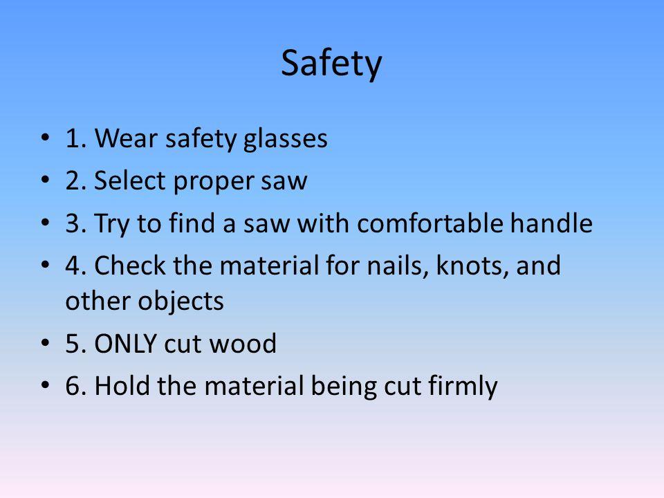 Safety 1. Wear safety glasses 2. Select proper saw