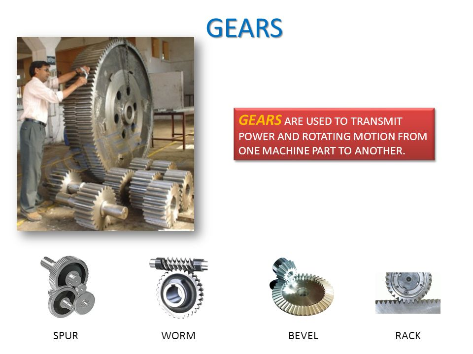 GEARS GEARS ARE USED TO TRANSMIT POWER AND ROTATING MOTION FROM ONE MACHINE PART TO ANOTHER.