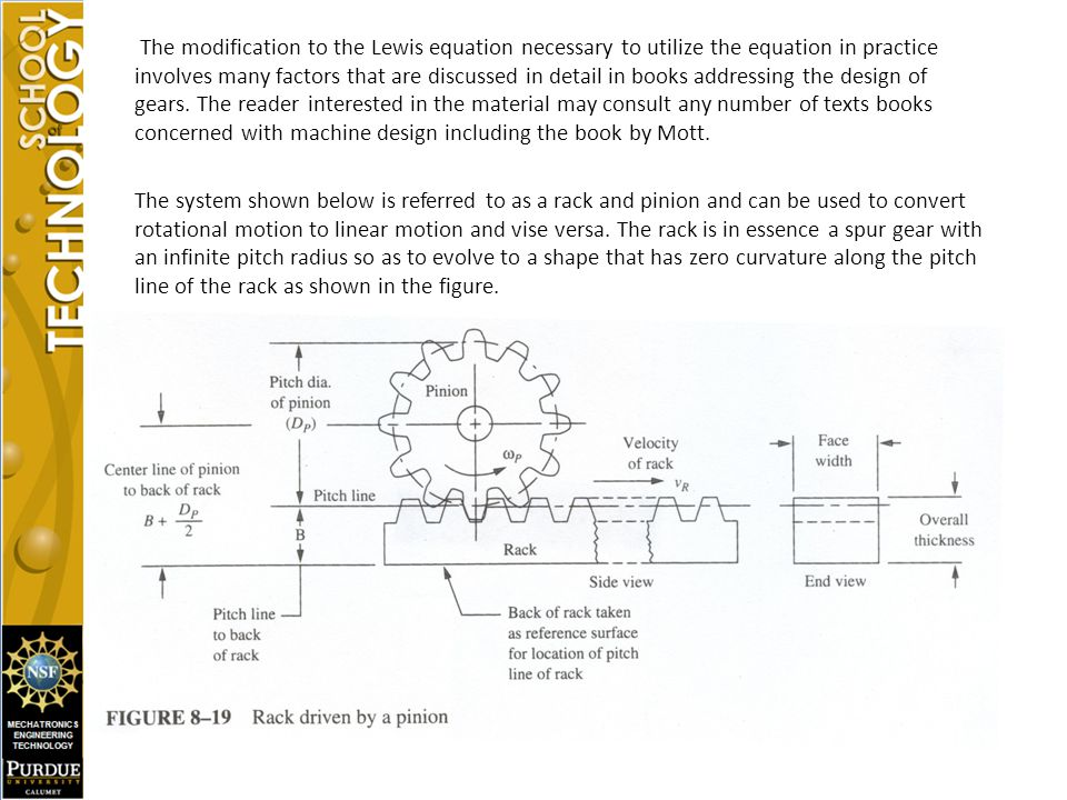 The modification to the Lewis equation necessary to utilize the equation in practice involves many factors that are discussed in detail in books addressing the design of gears.