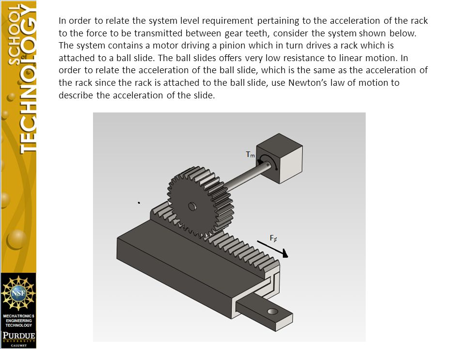 In order to relate the system level requirement pertaining to the acceleration of the rack to the force to be transmitted between gear teeth, consider the system shown below.