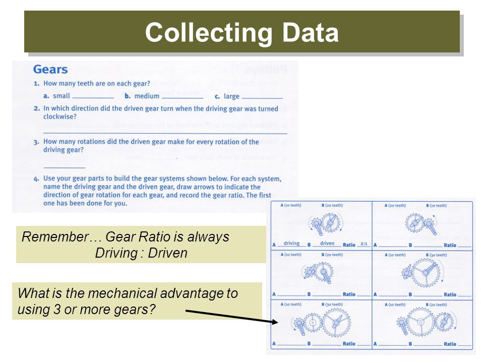 Collecting Data Remember… Gear Ratio is always Driving : Driven