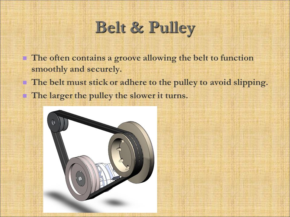 Belt & Pulley The often contains a groove allowing the belt to function smoothly and securely.