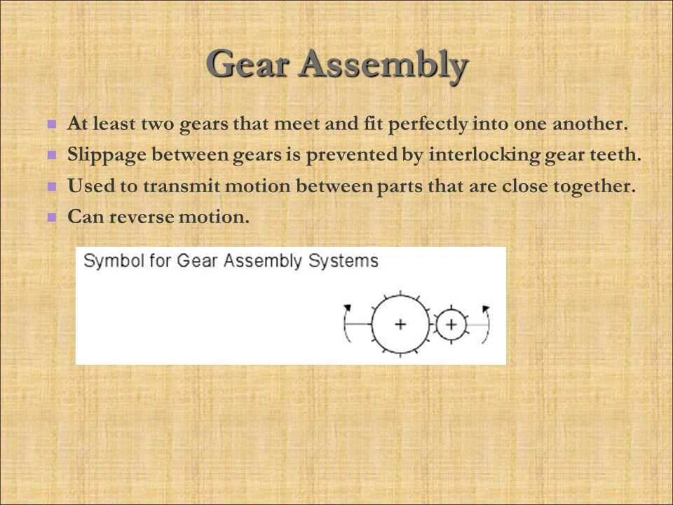 Gear Assembly At least two gears that meet and fit perfectly into one another. Slippage between gears is prevented by interlocking gear teeth.