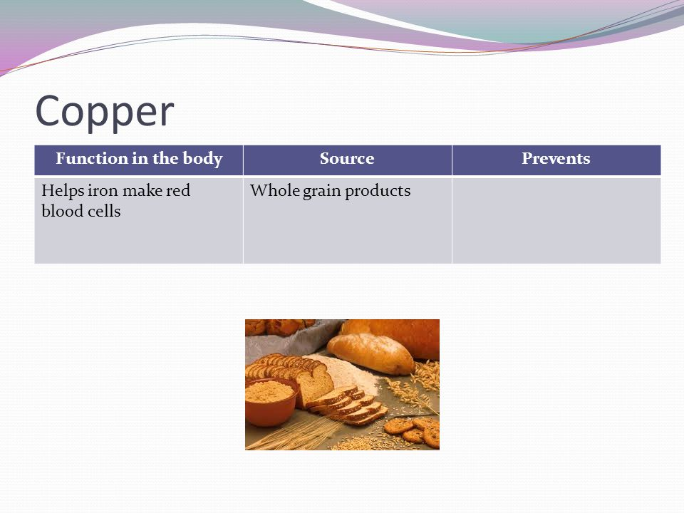 Copper Function in the body Source Prevents