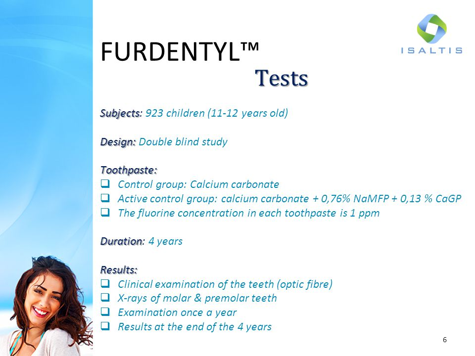 FURDENTYL™ Tests Subjects: 923 children (11-12 years old)