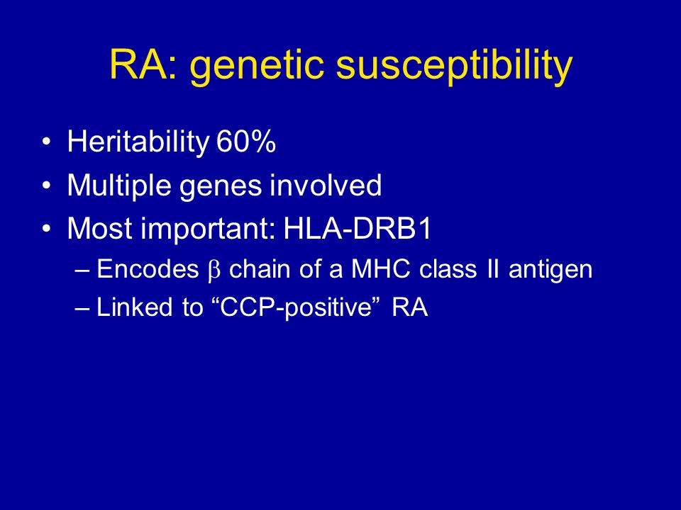 RA: genetic susceptibility