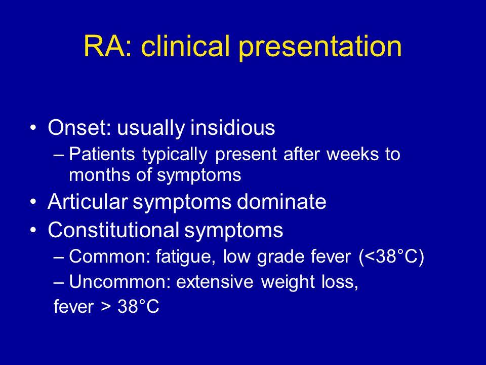 RA: clinical presentation