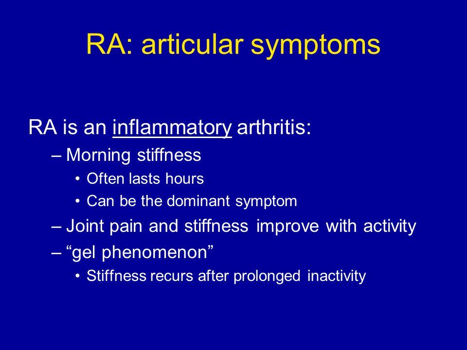 RA: articular symptoms