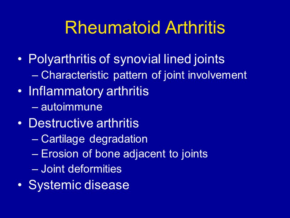 Rheumatoid Arthritis Natural History