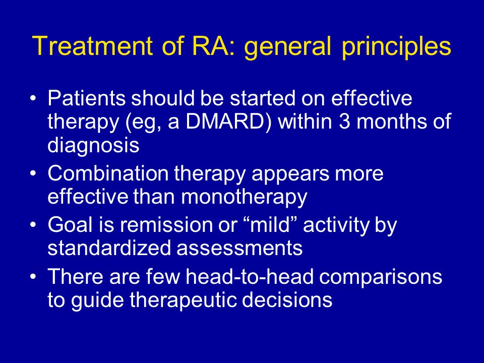 Treatment of RA: general principles