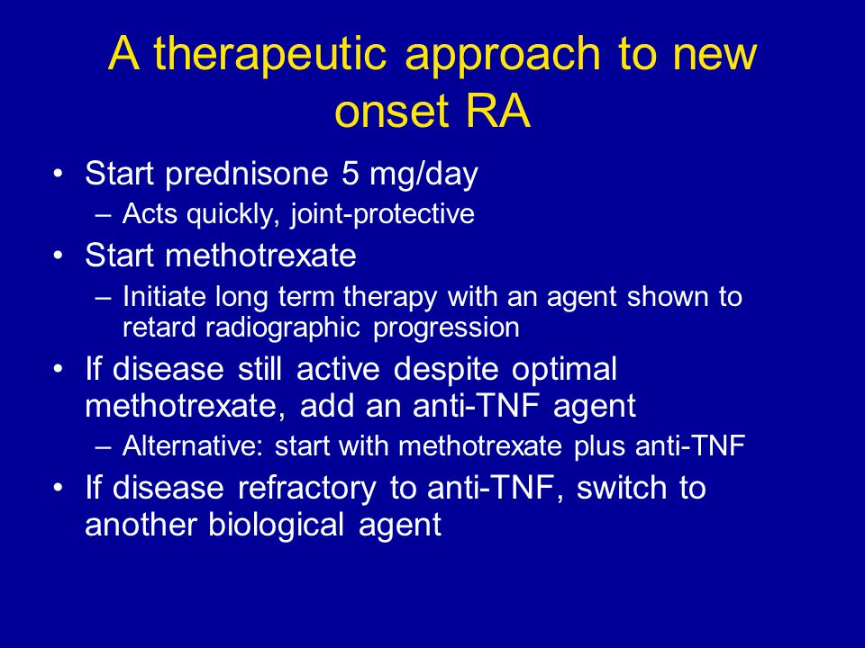 A therapeutic approach to new onset RA