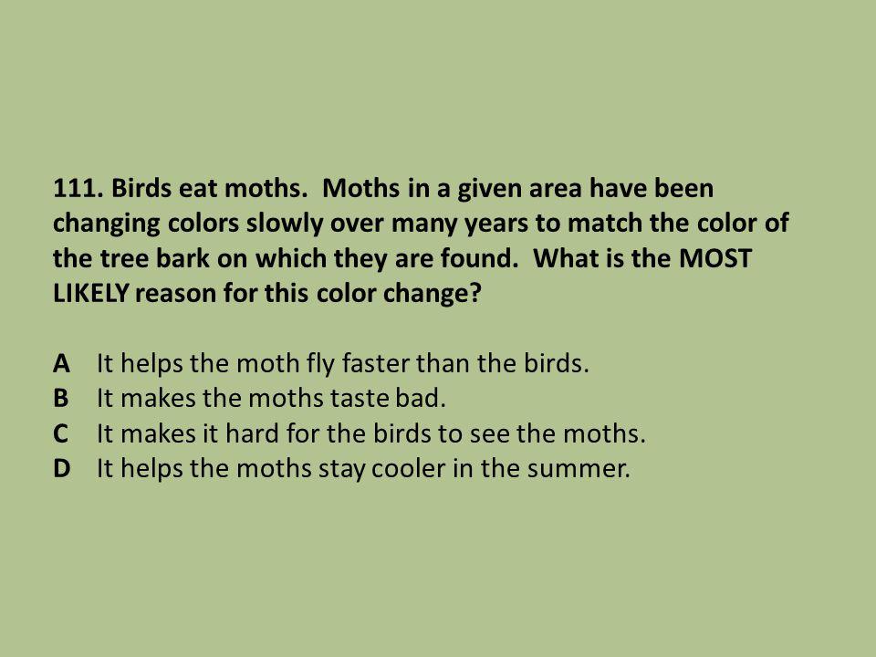 111. Birds eat moths.