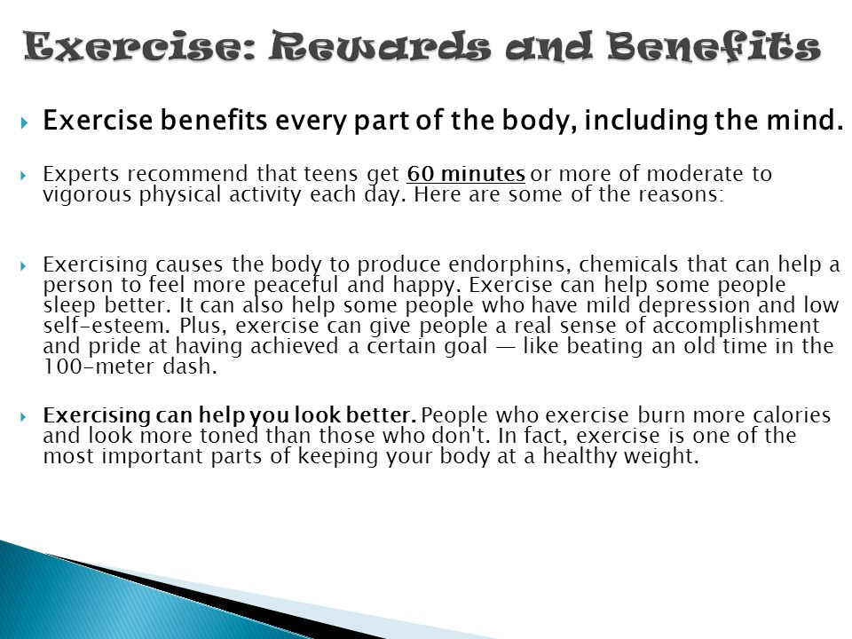 Exercise: Rewards and Benefits