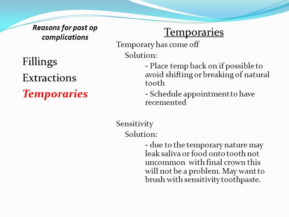 Reasons for post op complications