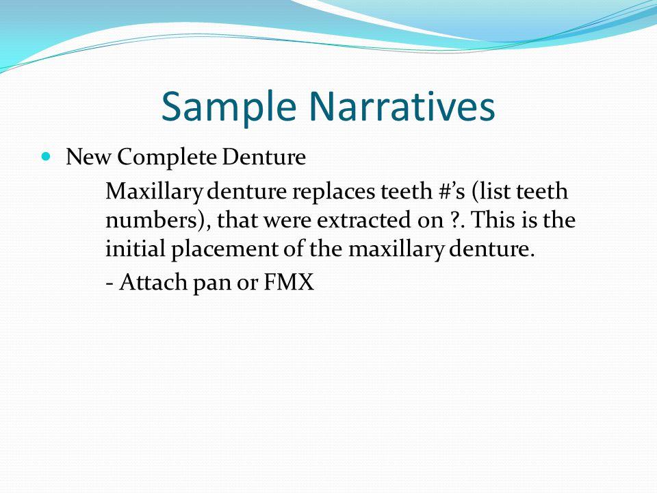 Sample Narratives New Complete Denture