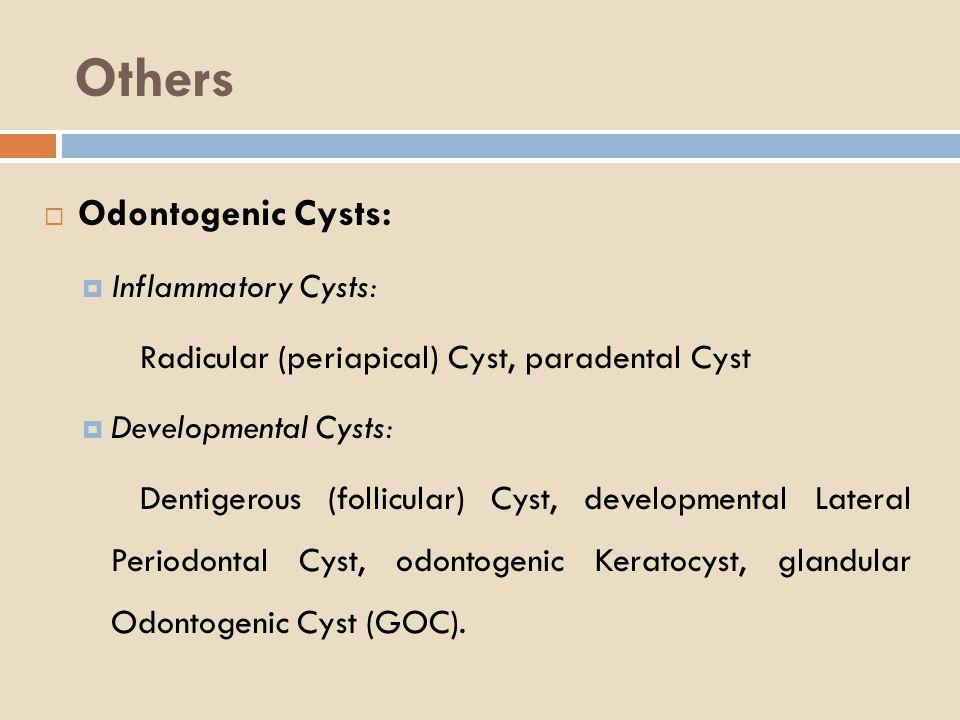Others Odontogenic Cysts: Inflammatory Cysts: