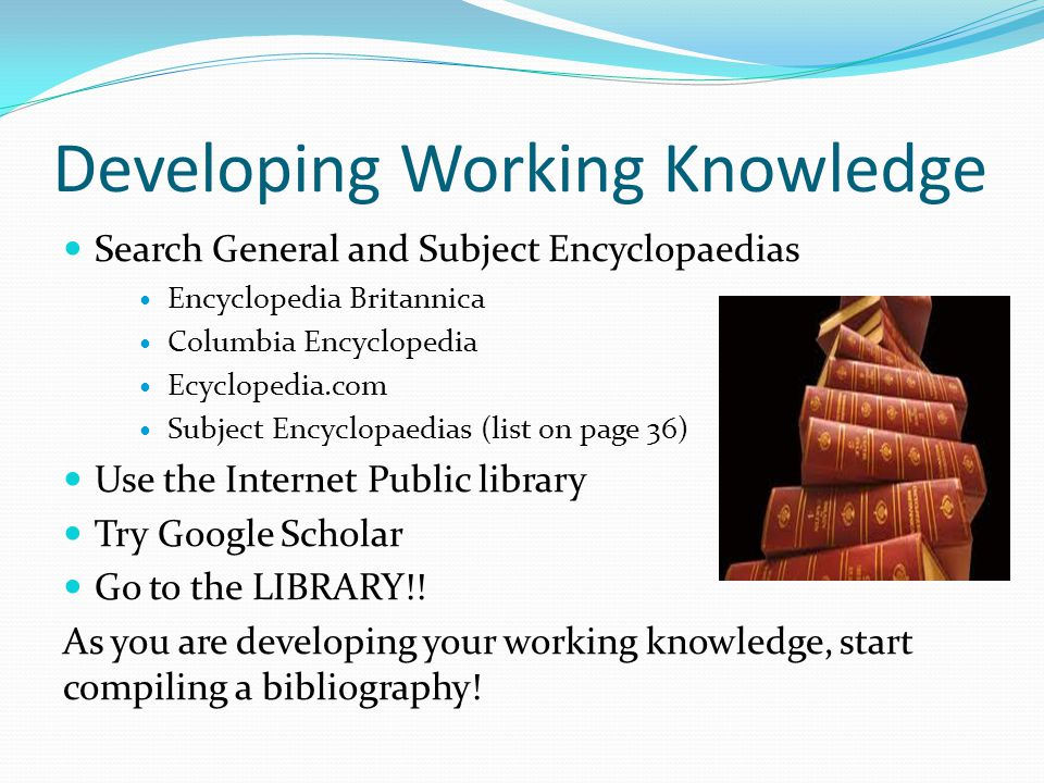 Developing Working Knowledge
