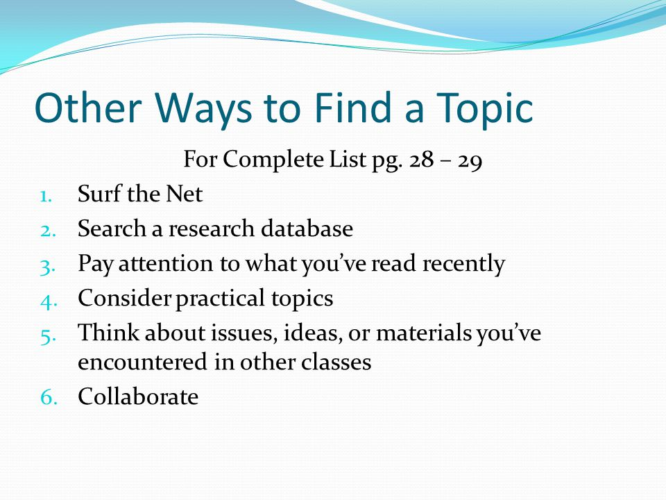Other Ways to Find a Topic