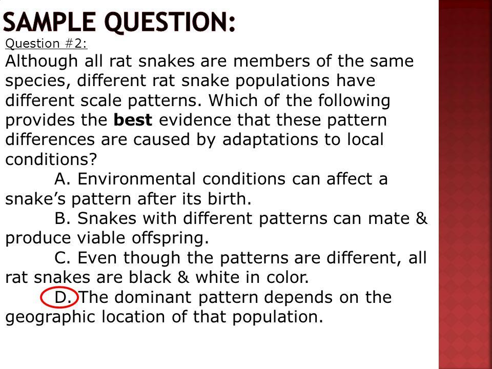 Sample question: Question #2: