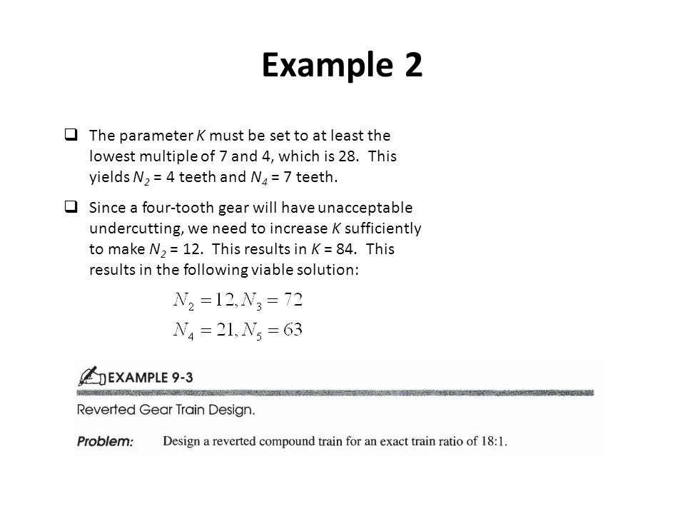 Example 2 The parameter K must be set to at least the lowest multiple of 7 and 4, which is 28. This yields N2 = 4 teeth and N4 = 7 teeth.