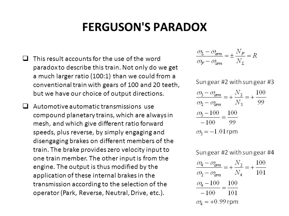 FERGUSON S PARADOX