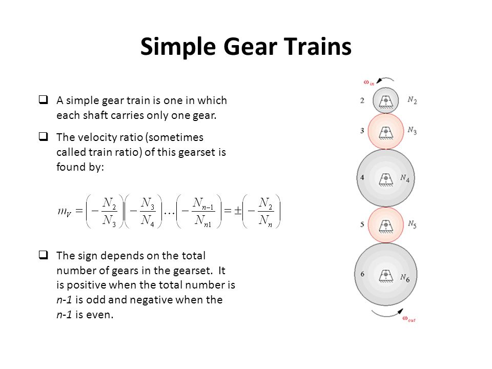 Simple Gear Trains A simple gear train is one in which each shaft carries only one gear.