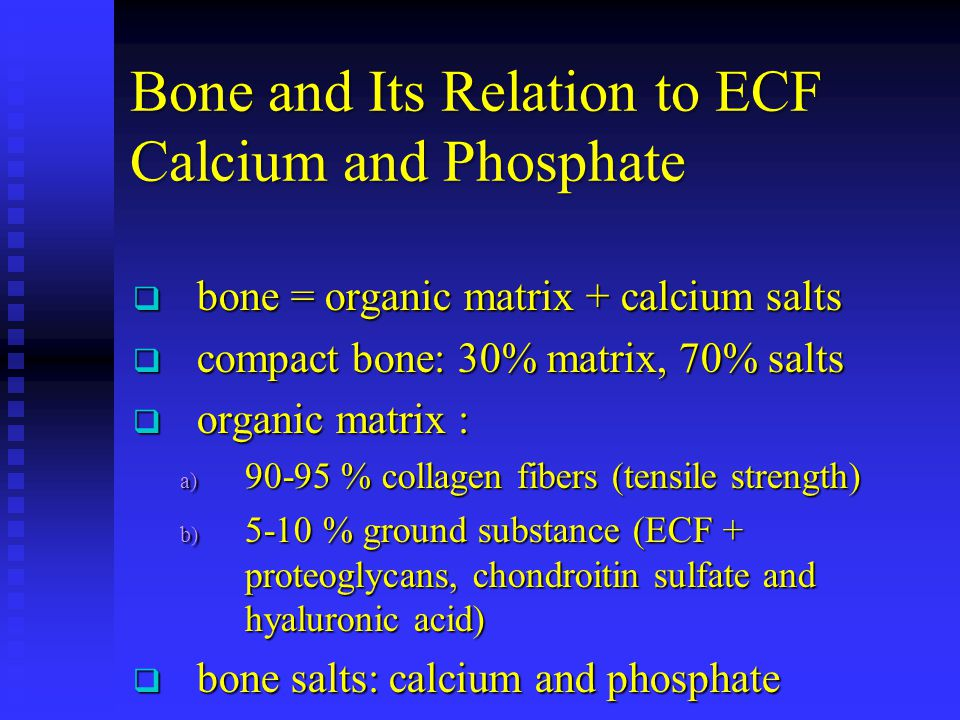 Bone and Its Relation to ECF Calcium and Phosphate