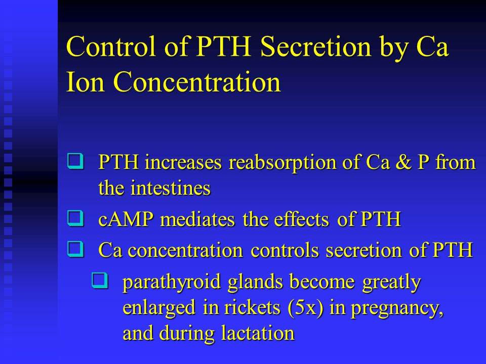 Control of PTH Secretion by Ca Ion Concentration