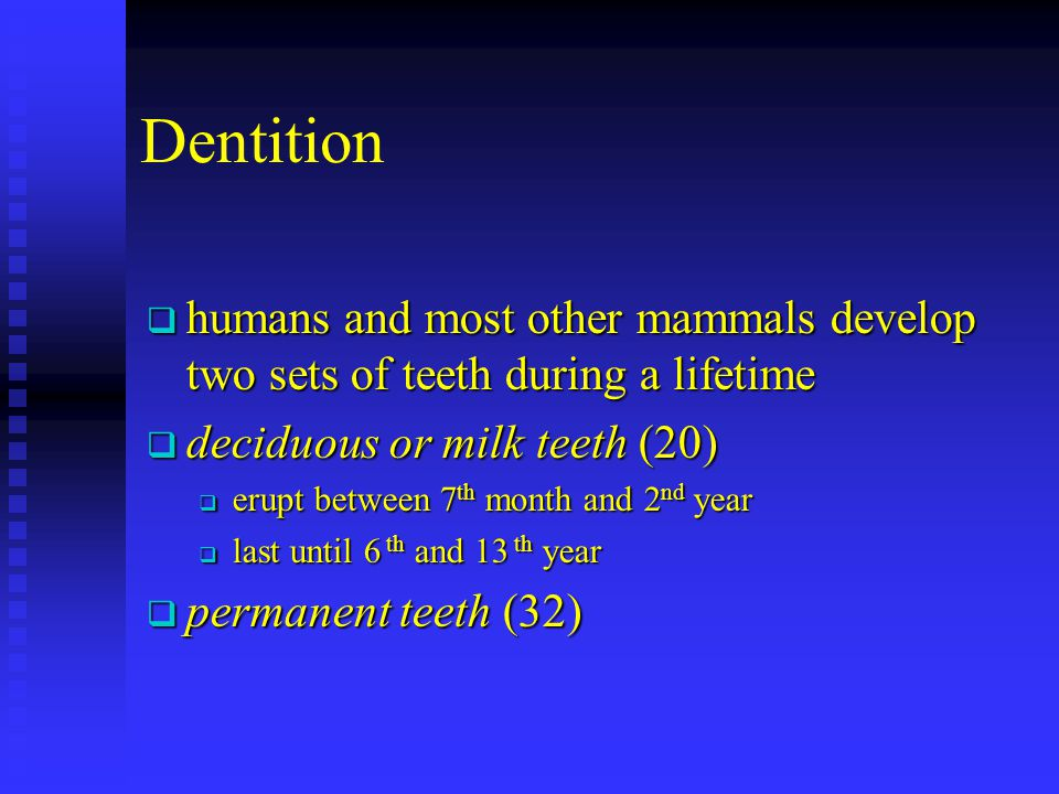 Dentition humans and most other mammals develop two sets of teeth during a lifetime. deciduous or milk teeth (20)