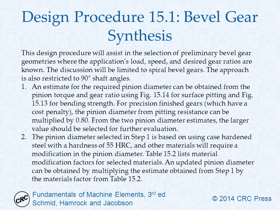 Design Procedure 15.1: Bevel Gear Synthesis