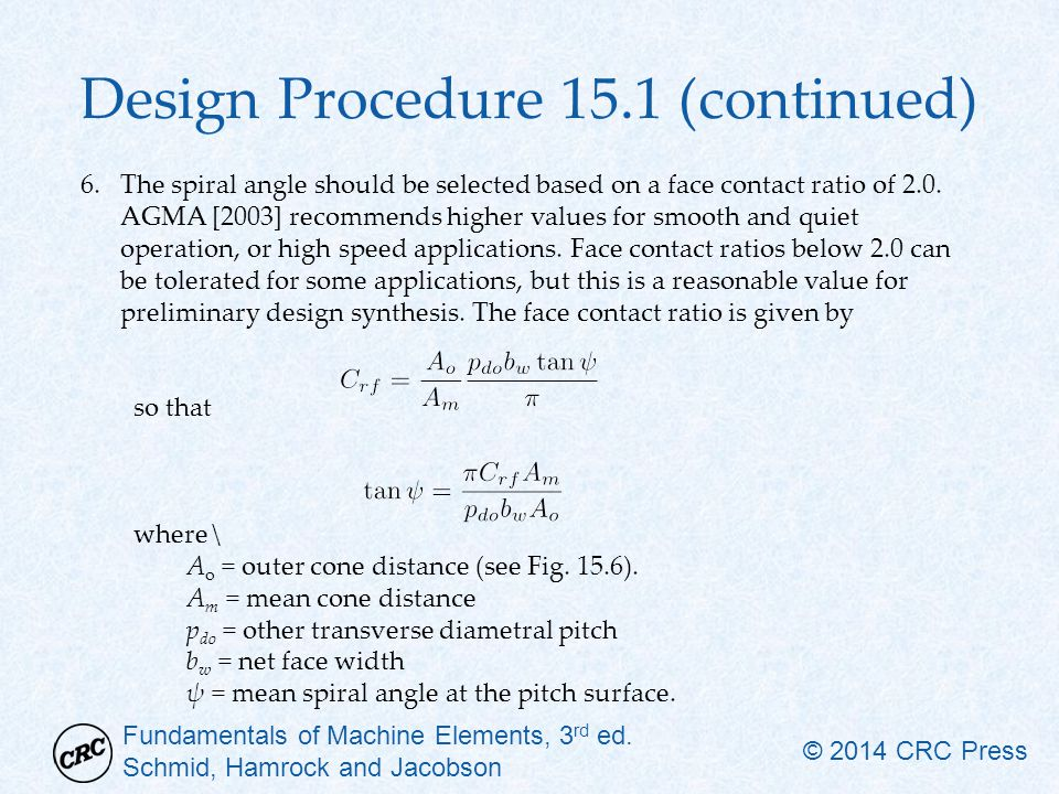 Design Procedure 15.1 (continued)