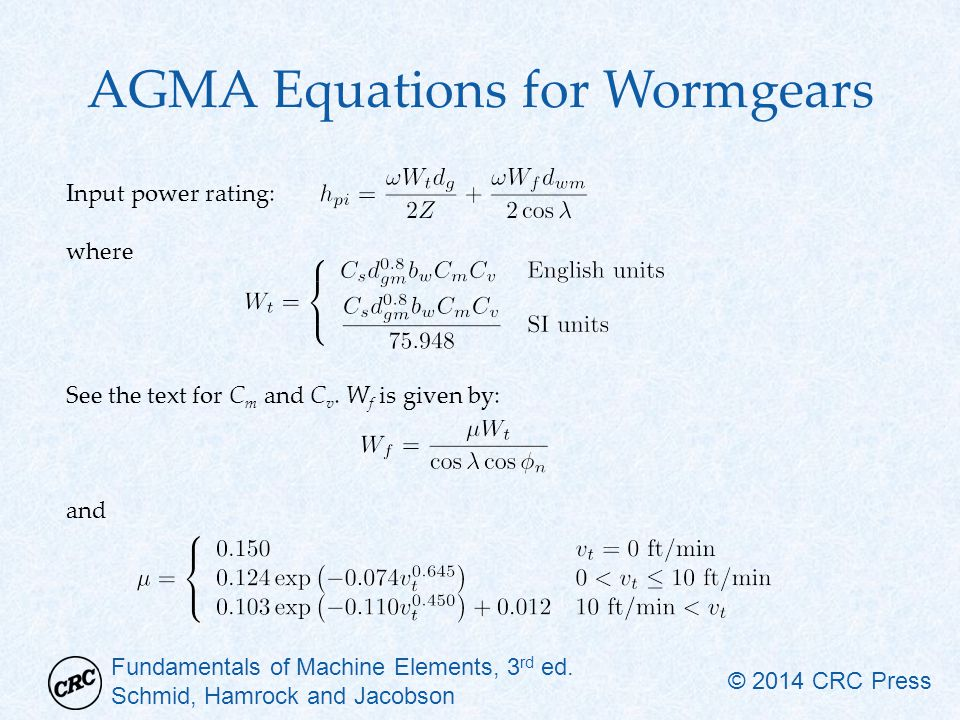 AGMA Equations for Wormgears