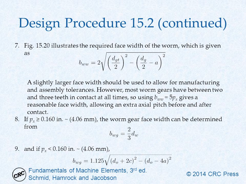 Design Procedure 15.2 (continued)