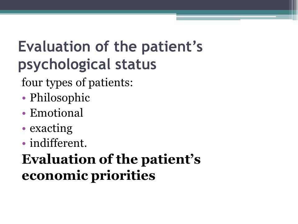 Evaluation of the patient's psychological status