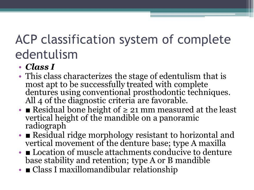 ACP classification system of complete edentulism