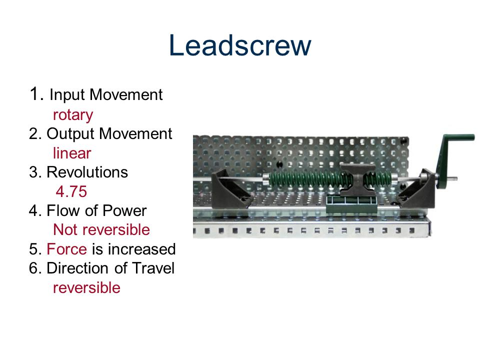 Leadscrew 1. Input Movement rotary 2. Output Movement linear