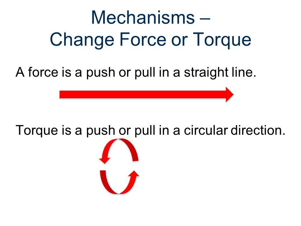 Mechanisms – Change Force or Torque