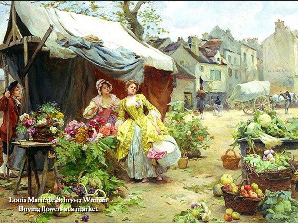 Louis Marie de SchryverWoman Buying flowers at a market