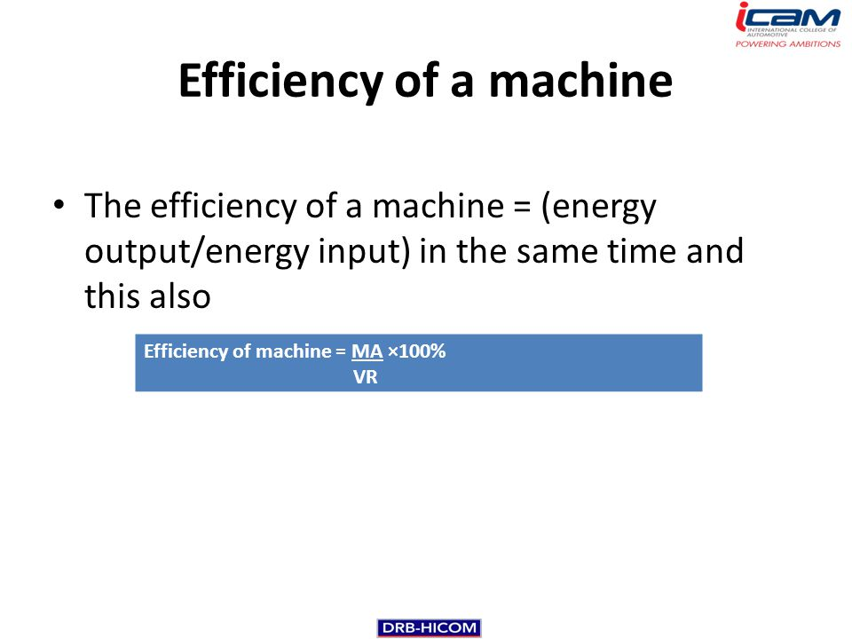 Efficiency of a machine