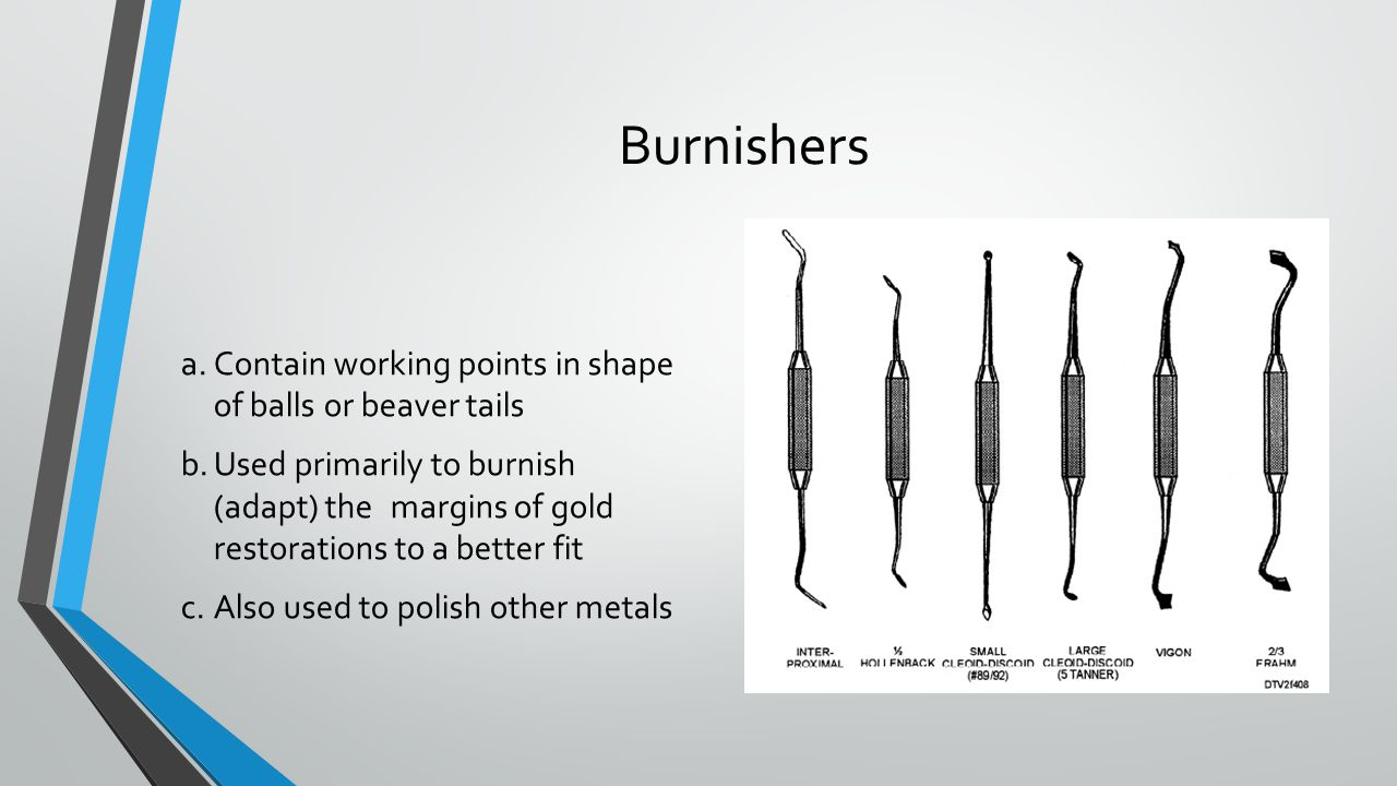 Burnishers a. Contain working points in shape of balls or beaver tails