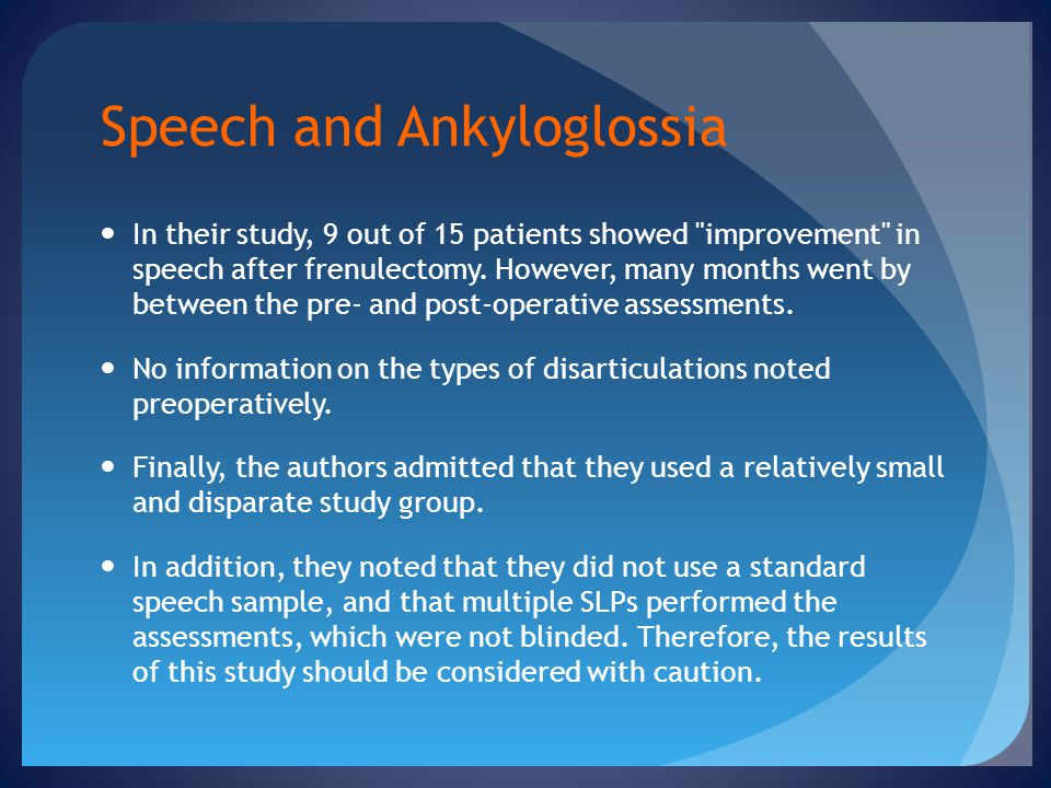 Speech and Ankyloglossia