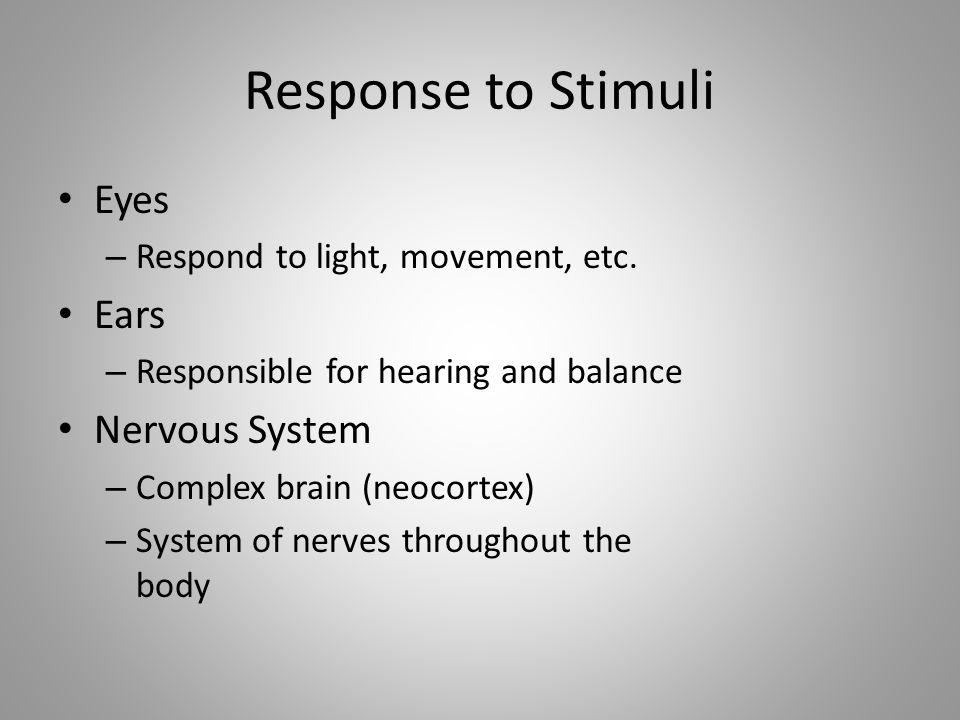 Response to Stimuli Eyes Ears Nervous System